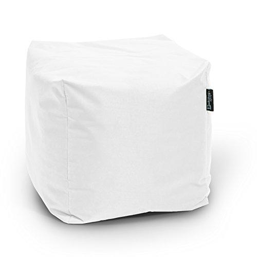 BuBiBag Würfel Sitzsack, Polyester, weiß, 45x45x45 cm