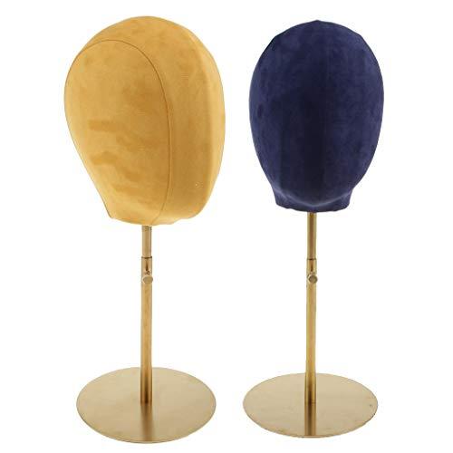 IPOTCH 2 Stück Samt Schaufenster Dekokopf Mannequin Modellkopf, Hüte Mütze Brille Perücke Ständer, Top Qualität