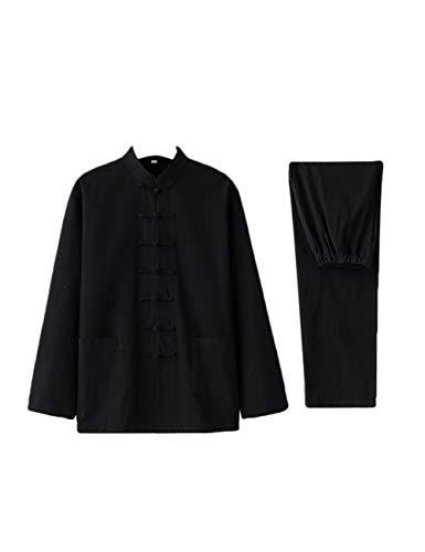 TAAMBAB Frühling Herbst im Chinesischen Stil Baumwolle Leinen Anzug Männer - Zweiteilige Traditionelle Kleidung Hemden und Hosen