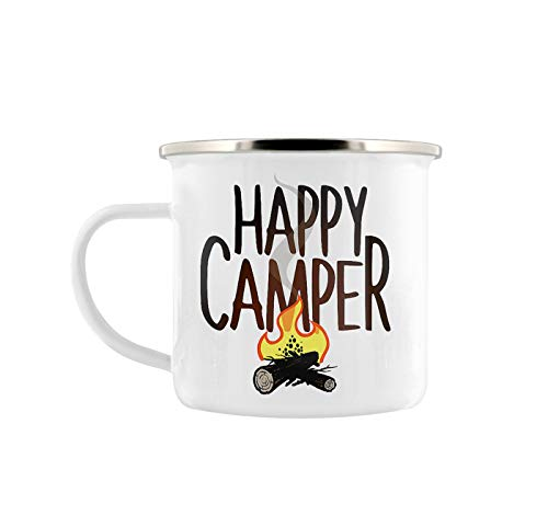 Grind Store Weißer Email Metall Camping Becher (Happy Camper) - Becher Happy Camper