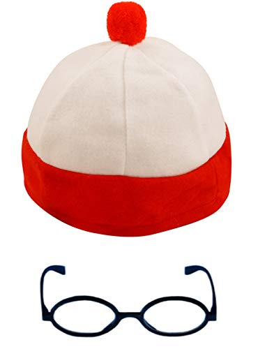 Unisex Red/White Bobble Hat & Glasses Theme Party No lens Glasses Book Day Book (Wheres Wally Kostüm)