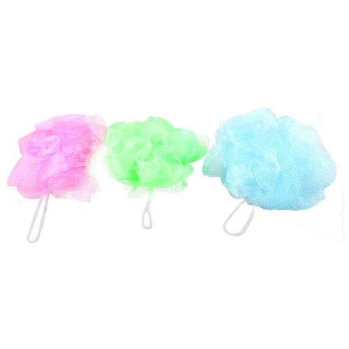 sourcingmapr-3-pieces-vert-bleu-fuchsia-maille-nylon-bain-pouf-de-douche-tampon-a-recurer