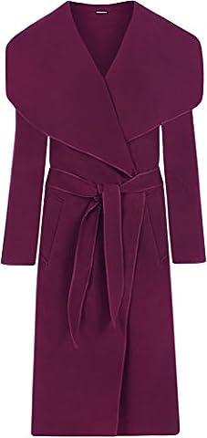 WearAll - Lange Gürtel Taschen öffnen Coat Damen Promi Wasserfall Jacke Cape - Magenta - Eine Größe
