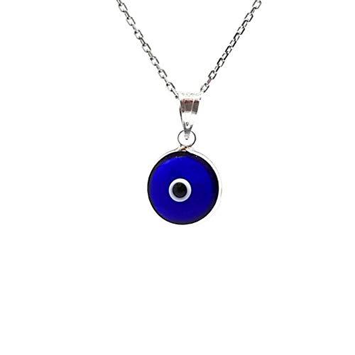 Mystic Jewels by Dalia - Collar mal de ojo de cristal azul para la buena suerte - plata de ley 925 - - Cadena 40 a 45 cm Longitud, para la Navidad, Boda, Dia de San Valentin (Azul Fuerte Transparente)