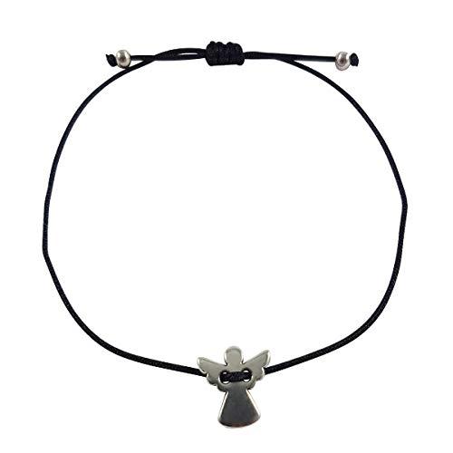 Nilian Damen Armband – Silber Herz Armband – Filigranes Frauen Armband - perfekt geeignet als Geschenk – Hochwertiges Textil Armband mit Herzanhänger (Engel...