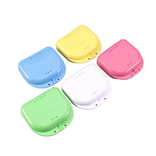 Faneli Zahnspangendose, Dental Box Zahnprothesenbecher Behälter Becher Dose Zahnprothese orthopädisch, 5 Stück Zahnspangenbox Prothesendose auch für Aufbissschiene