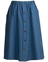 9e8bcd1d55d9 Femme Vintage A-Line Midi Plier Jupe Mode Sexy Solides Taille Haute Vintage  Lâche Dames