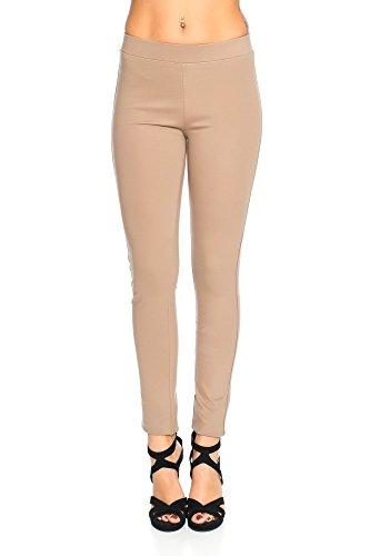 Damen Legging Hose Stretch Slimfit, sehr bequem (L - 40, Beige)