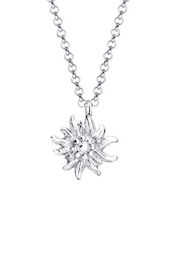 Elli Halskette Damen Edelweiss Symbol Anhänger Wiesn Tracht in 925 Sterling Silber