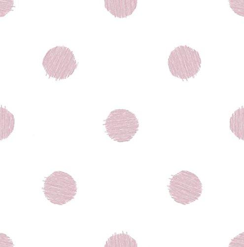 Papel pintado a lunares de color rosa sobre fondo blanco Friends & Coffee 5680