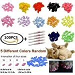 JOYJULY 100pcs Cat Nail Caps Pet Cat Claw Kitty Caps Control Soft Paws of 5 Different Colorful Nail Covers for Cats+ 5… 5