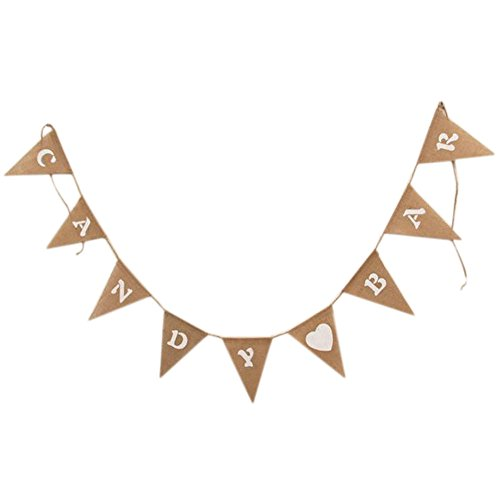 Cdet Bunting Banner 2.8M Candy Bar Boda Decorativa Jute Bouquet Triangular Bandera...