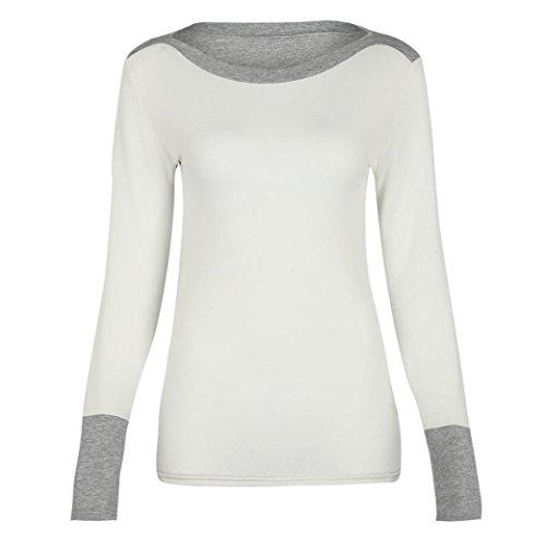 LUVERSCO Damen O Hals Kampf Farbe Lange Ärmel Jumper Pullover Bluse Oberteile (Weiß, M) (Stricken Lange Logo Schal)