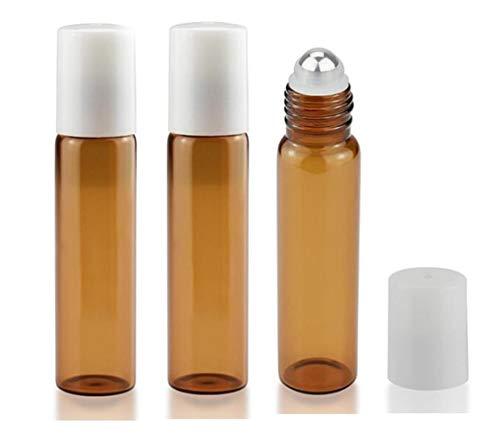 0.5 Unze Parfum Spray (3 STÜCKE 15 ML 0,5 UNZE Leere Nachfüllbare Brown Glass Roller Flasche mit Edelstahl Perlen und Weißen Deckel Tragbare Parfüm Ätherisches Öl Aromatherapie Dispensing Gläser Vial)