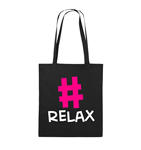 Comedy Bags - #RELAX - Jutebeutel - lange Henkel - 38x42cm - Farbe: Schwarz / Weiss-Neongrün Schwarz / Weiss-Pink