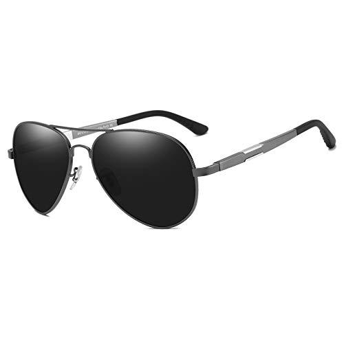 DUCO Unisex Fliegerbrille Polarisierte Sonnenbrille, Pilotenbrille mit Federscharnier, Etui und Putztuch (Rotguss)