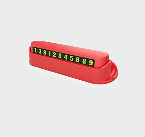 WYUE Temporäres Parkschild, leuchtendes Parknummernschild - ABS, multikinetisches Handy-Nummernschild (2 Stück),Red