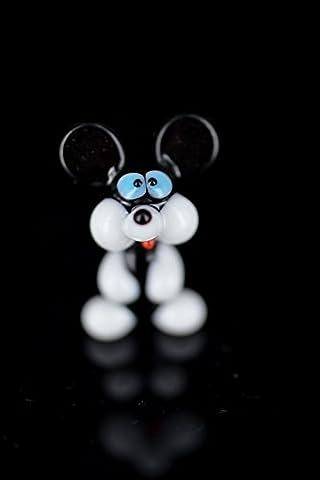 Souris Noir Blanc Mini- Petite Figurine de Verre - Miniature Animal Décor Vitrine
