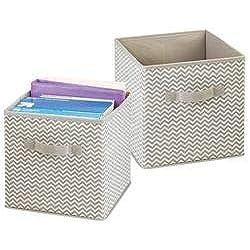 mDesign boîte de rangement pour le bureau, atelier, studio - panier de rangement pour ranger fichiers, papier d'imprimante, etc. - lot de 2- bac de rangement de mDesign - couleur : taupe/nature