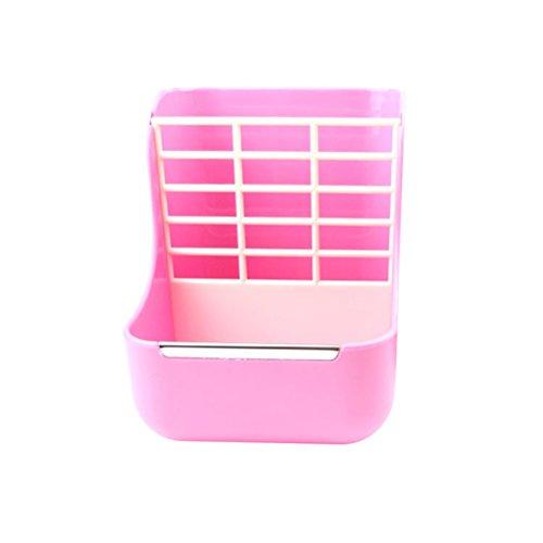 Ciotola gabbia UEETEK Alimentatore per animali piccoli da appendere con 2 divisori (Rosa)
