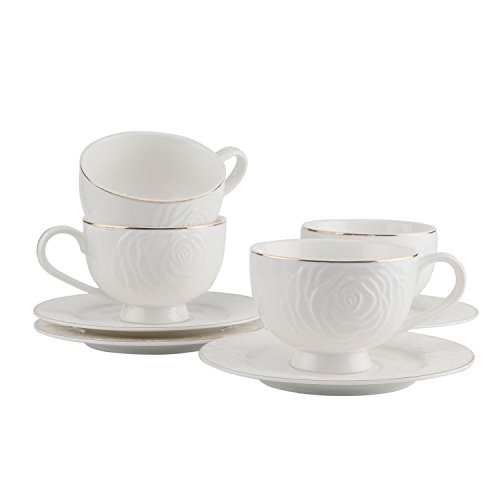 Set tazze e piattini in porcellana cappuccino - 350ml, tazze da caffè con piattini in rilievo bianchi e rosa per tè / caffè / latte / moka bordo dorato, set di 4
