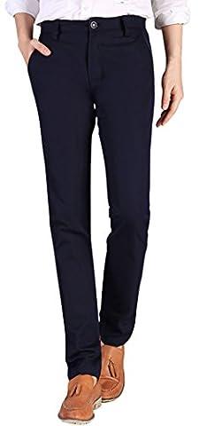 Gillbro Pantalons Mens Casual Slim-Tapered Flat-Front, Navy,