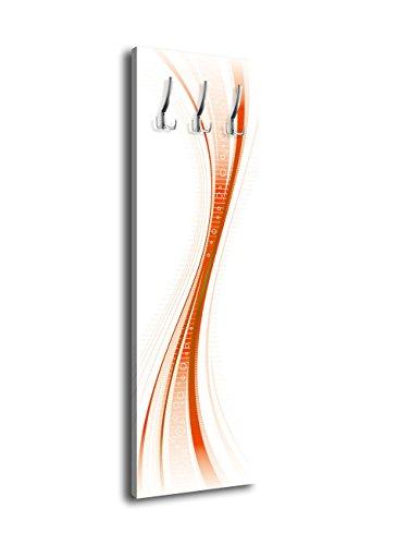 Garderobe mit Design Orangene Welle G221 40x125cm Wandgarderobe Glas Abstrakt Wave