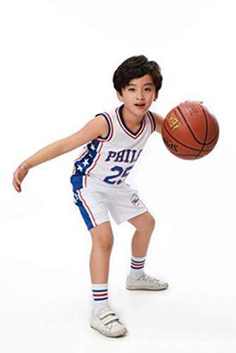 LZNK Kinder Basketball Wear Trikots Set Retro Gym Weste Trikots Basketball NBA Basketball Shorts Philadelphia-3xs -