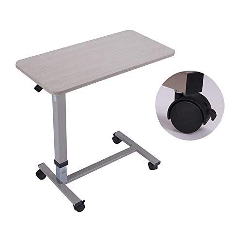 QULONG Nicht-Tilt Overbed Tisch Mit Rollen Höhenverstellbar 31.3-43.3In Hydraulische - Locking Laufräder - Laptop-Tabelle Für Bett, Bett Tabletts Für Essen,beige -