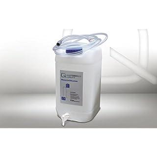 diverse Fallwasserbehälter 30l mit Auslaufhahn, Fließanzeiger mit Filter, Schlauch (4m) und Kupplung