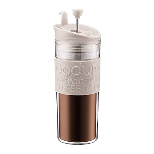 Bodum 11100–913Travel Press, 0.45l tazza da viaggio plastica 8x 8x 21cm, colore: Bianco