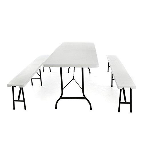 SONLEX Campinggarnitur Bierzelt-Garnitur klappbar 1 Tisch 2 Bänke Weiß 180 cm Wetterfest...
