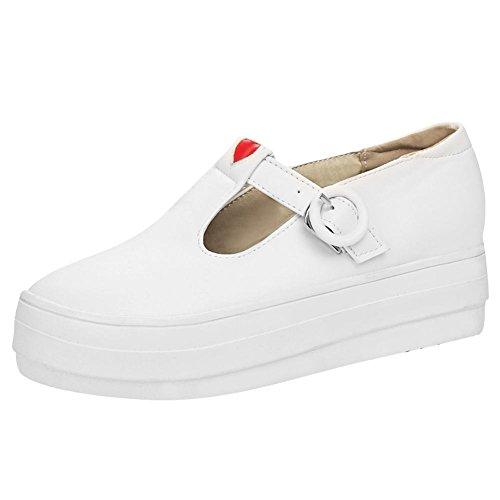 3d3179c18d0d Chaussures Femme Misssasa Avec Talon Blanc Bas Et Élégant ...