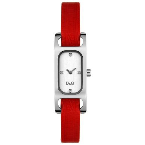 D&G Dolce&Gabbana Women's Quartz Watch with Red Dial Analogue Display and White Leather Strap DW0097 D&G