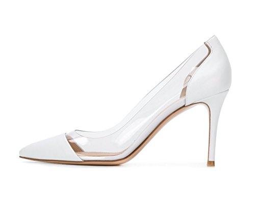 EDEFS Scarpe col Tacco Donna,Trasparente Scarpe,Cap-toe PVC Scarpe col Tacco Bianco