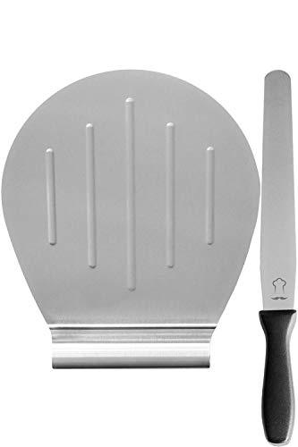 Chefarone Kuchenheber Set inkl. Streichpalette zum sicheren Anheben von Tortenböden - Kuchenretter Edelstahl - Tortenheber mit Griff