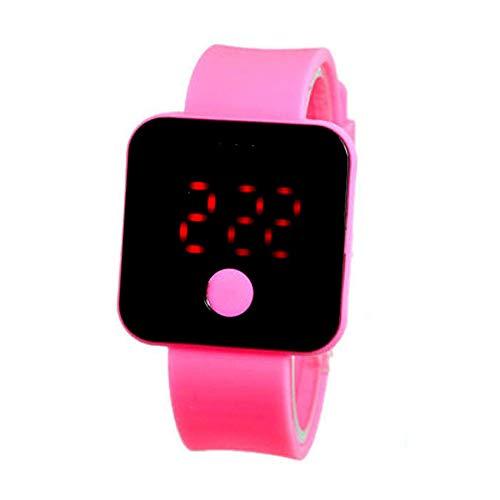 XZDCDJ Fitness Armband Smartwatch Damen, Aktivitäts-Tracker Neue ultradünne leichte Sport-Armbanduhr des Mann-Mädchen-Silikon-Digital-LED Rosa -