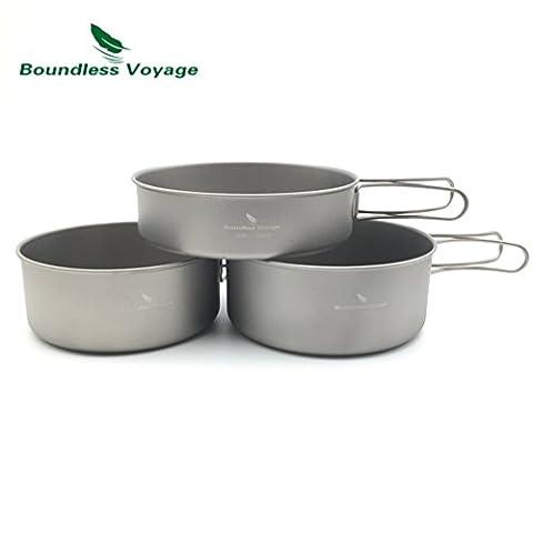 Outdoor Lightweight Titanium Foldable Pot Set Camping Cooking Pot With Titanium Pan (500ML+600ML+700ML)