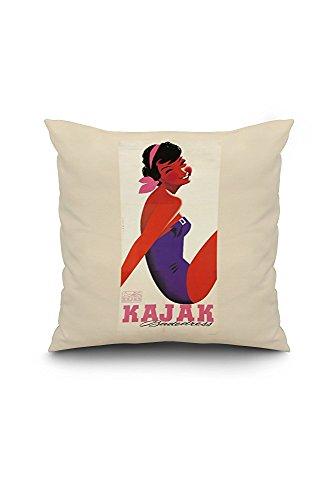 Kajak Vintage Poster (artist: Hofmann) Austria c. 1957 (18x18 Spun Polyester Pillow Case, White Border)