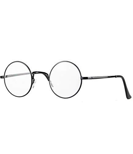 caripe Lesebrille rund silber gold schwarz Herren Damen Retro Vintage 60er Jahre Stil Metall - M130 (815ML - schwarz, 3,0 dpt)
