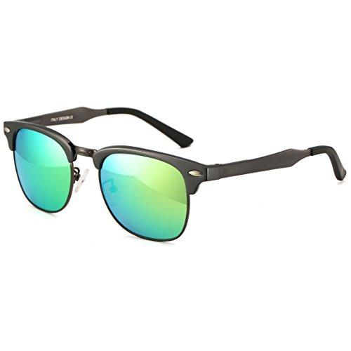 Dollger Clubmaster polarisierte Wayfarer Sonnenbrille Horn umrandeten Halbrahmen(Grün+Rotguss) (Brille Umrandeten Frauen Für Horn)