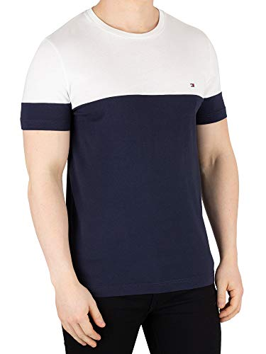6cd6981be Tommy Hilfiger Colour Block tee, Camiseta para Hombre, Blanco (Sky  Captain/Bright White 902), Large