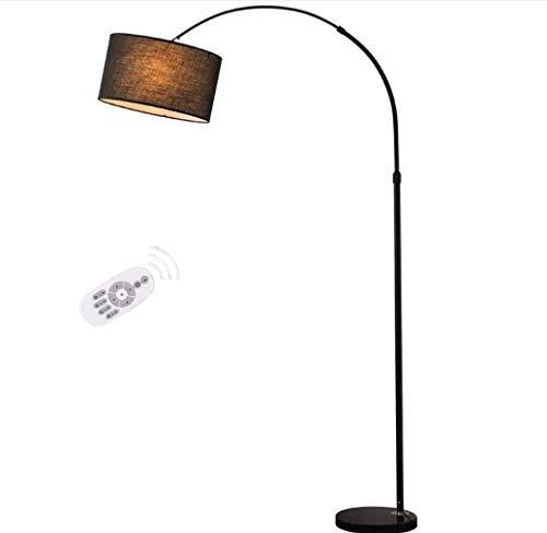 Lampadaires XL de Style Arc de Design en Métal Moderne Noir/Métal Arc Noir en Métal Chrome avec Abat-Jour Champignon et Base Solide, Noir