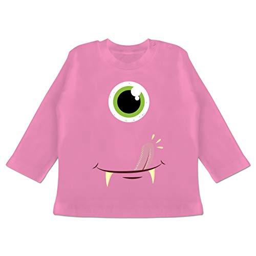 Karneval und Fasching Baby - Monster Gesicht Kostüm - 18-24 Monate - Pink - BZ11 - Baby T-Shirt Langarm (Monster Gruppe Kostüm)