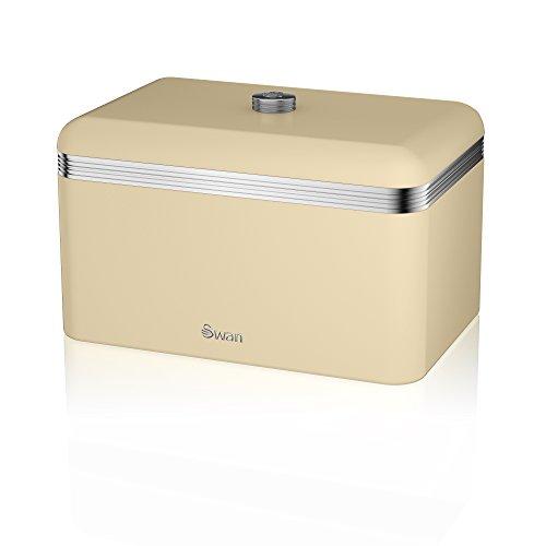 Swan Retro Bread Bin, Metal, Cream, 18 Litre Storage Capacity