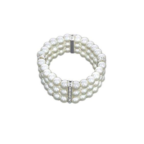 Perlenarmband Perlen Gummizug Hochzeit Brautschmuck Armband Strass creme CTS144 (Creme Perle Armband)