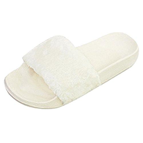 TOSKATOK® Celebrity Style Womens Damen auf Casual Flauschig FALSCHE Pelz Flach Hausschuhe Zehentrenner Flip Flops Sandalen - Weiß Stiefel Flauschige