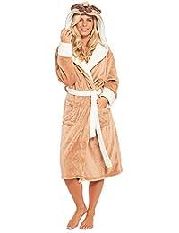 f91e837ff6 Slumber Hut® Ladies Pug Dog Fleece Dressing Gown Luxury Flannel Hood Brown  Novelty Womens Robe Velvet Soft…