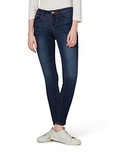 Tom Tailor (NOS) Damen Skinny Jeans graue Biker Names Alexa, Blau (Dark Stone wash Deni 10282), W31/L32 (Herstellergröße:31)