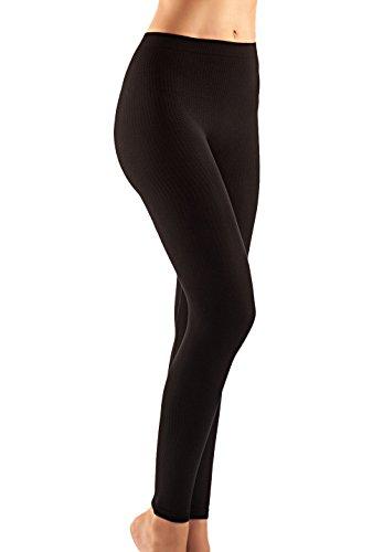 FarmaCell 132 (Schwarz, L/XL) Massierende und reduzierende Leggings mit anti Cellulite Effekt